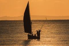 渔船- Inhassoro -莫桑比克 免版税图库摄影