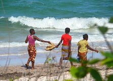 Inhassoro, Mozambique - December 9, 2008: De Kust van Indische Oceaan. Th Stock Foto