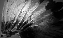 Inheems Amerikaans Hoofddeksel in Zwart-wit royalty-vrije stock afbeeldingen