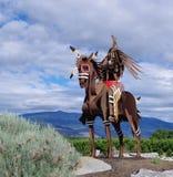 Inheems Beeldhouwwerk bij Meer Osoyoos, Brits Colombia, Canada Stock Foto