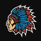 Inheems Indiaan belangrijkst hoofdprofiel Het teamembleem van de mascottesport Vector illustratie stock illustratie