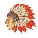 Inheems Indiaan belangrijkst hoofdprofiel Vector uitstekende illustratie vector illustratie