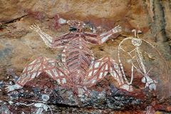 Inheems rotsart. Stock Fotografie