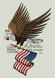 Inheemse adelaar Amerikaan Wilde vogel oud etiket en kenteken gegraveerde die hand in oude schets wordt getrokken Het symbool van Stock Afbeeldingen