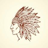 Inheemse Amerikaan met veren Vector tekening Stock Foto's