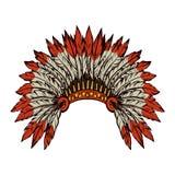 Inheemse Amerikaan met veren Vector tekening Stock Afbeelding