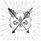 Inheemse Amerikaanse affiche, hipster, aztek stijl Perfect embleem voor Royalty-vrije Stock Fotografie
