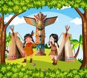 Inheemse Amerikaanse Indiërs bij de stam Royalty-vrije Stock Afbeelding