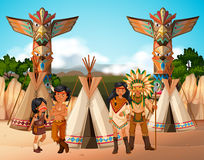 Inheemse Amerikaanse Indiërs bij kampeerterrein royalty-vrije illustratie