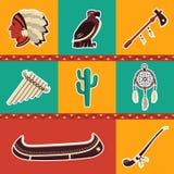 Inheemse Amerikaanse symboolpictogrammen Stock Foto