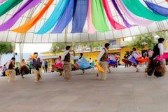 Inheemse dansers van Ecuador stock afbeelding