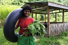 Inheemse Fijian-vrouw in Fiji stock afbeeldingen
