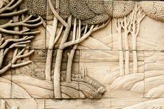 Inheemse het vormen kunst op muur Stock Afbeeldingen