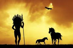 Inheemse Indiaan bij zonsondergang royalty-vrije illustratie