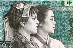 Inheemse Pu Yi en Koreaanse Mooie Vrouwen Stock Foto