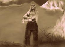 Inheemse strijder met zijn bijl royalty-vrije illustratie