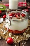 Inhemsk körsbärsröd yoghurt royaltyfria foton