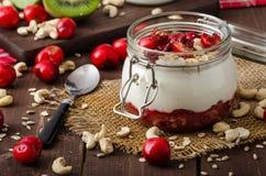 Inhemsk körsbärsröd yoghurt arkivfoto