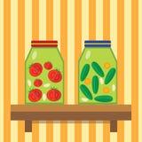 Inhemsk kubb Gurkor och tomater i cans inlagda tomater för gurkor stock illustrationer