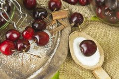 Inhemsk produktion av körsbärsrött driftstopp Nytt valda körsbär som är klara för på burk Royaltyfria Bilder