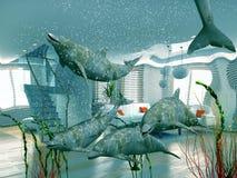 inhemska delfiner Arkivfoton