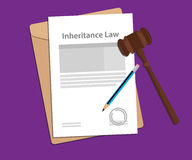 Inheritance law concept illustration with paperworks, pen and a judge hammer Stock Photos