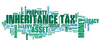 Inheritance tax. Personal finance issues and concepts tag cloud illustration. Word cloud collage concept Royalty Free Stock Images