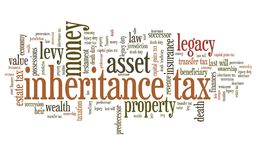 Inheritance tax. Personal finance issues and concepts tag cloud illustration. Word cloud collage concept royalty free illustration