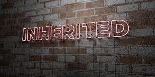 INHERITED - Glowing Neon Sign on stonework wall - 3D rendered royalty free stock illustration Royalty Free Stock Images
