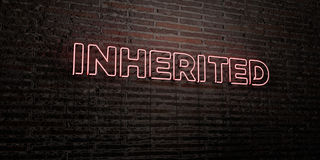 INHERITED -Realistic Neon Sign on Brick Wall background - 3D rendered royalty free stock image Royalty Free Stock Photos