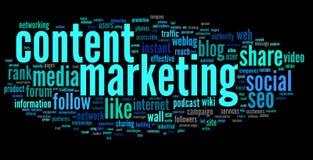 Inhoud die conept in de wolk van de woordmarkering op de markt brengen Stock Foto