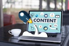 inhoud marketing de Media van Blogging van Inhoudsgegevens de Publicatie informeert stock afbeelding