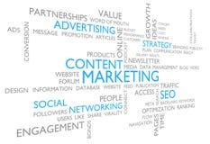 Inhoud marketing door reclame, sociaal voorzien van een netwerk, en SEO Stock Foto's