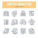Inhoud Marketing Krabbelpictogrammen vector illustratie
