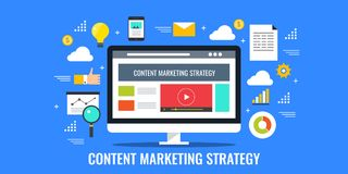 Inhoud marketing strategie, sociale media die, digitaal het brandmerken concept adverteren stock illustratie