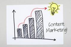 Inhoud Marketing Uitdrukking met Stijgend Seo Sales Royalty-vrije Stock Foto