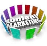 Inhoud Marketing Woorden Vele Formaten van Deurenkanalen Stock Foto