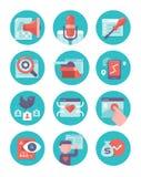 Inhouds Marketing en SEO Icons Royalty-vrije Stock Foto