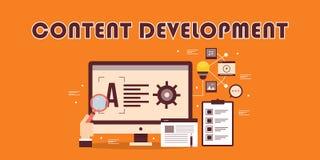 Inhoudsontwikkeling, digitale inhoud marketing, optimalisering, strategie, planningsconcept Webinhoud, gegevensonderzoek royalty-vrije illustratie
