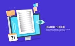 Inhoudspublicatie, innemende lezers, digitale marketing, sociaal media bevorderingsconcept Vlakke ontwerp vectorbanner stock illustratie