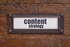 Inhoudsstrategie - het etiket van het dossierkabinet Royalty-vrije Stock Fotografie