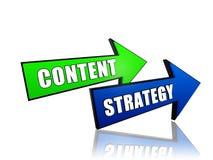 Inhoudsstrategie in pijlen Stock Fotografie