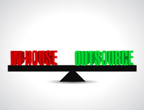inhouse and outsource balance illustration design Stock Photos