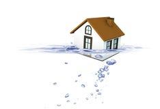 Inhysa att sjunka i vatten, fastighethuskris Arkivfoto