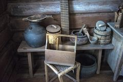Inhysa museet, historisk ryss som förlägga i barack i vilken var födda Chapaev Royaltyfri Bild