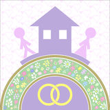 Inhysa och älska basen av familjlycka royaltyfri illustrationer