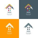Inhysa reparationen som taklägger logo, etiketten, emblemdesign vektor illustrationer