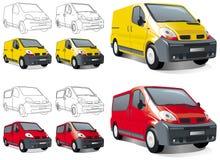 Ðini buss, bestelwagen, lading en passagiers Royalty-vrije Stock Afbeelding