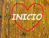 Inicio. HOME desire to return to the memory of love hearts background illustration travel homeland become a wood plank Stock Photos