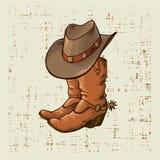 inicjuje kowbojskiego kapelusz Wektorowej grafiki ilustracja na starym grunge tle ilustracja wektor